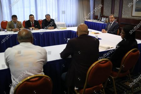 Stock Image of Former Spanish Prime Minister Jose Luis Rodriguez Zapatero (R) attends a meeting with Minister of Communication of Venezuela, Jorge Rodriguez, Vice President, Delcy Rodriguez, and members of the opposition Timoteo Zambrano and Javier Bertucci, in Caracas, Venezuela, 08 February 2020. Zapatero met on 07 February with Venezuelan president, Nicolas Maduro, at Miraflores Palace.