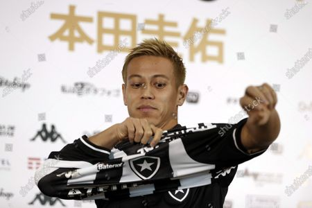 Japanese soccer player Keisuke Honda participates in a press conference on his new Botafogo club, at the club premises in Rio de Janeiro, Brazil, 08 February 2020.