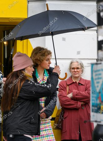 Actress Emma Corrin plays Diana, Princess of Wales as Manchester's Northern Quarter is transformed into New York for filming of a scene from Series 4 of The Crown.