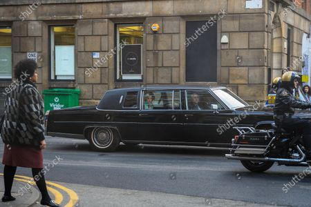 Actress Emma Corrin is seen in a limo as she plays Diana, Princess of Wales, as Manchester's Northern Quarter is transformed into New York for filming of a scene from Series 4 of The Crown.