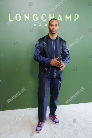Victor Cruz attends NYFW Fall/Winter 2020 - Longchamp at Hudson Commons, in New York