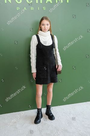 Stock Image of Lila Grace Moss Hack attends NYFW Fall/Winter 2020 - Longchamp at Hudson Commons, in New York