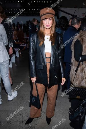 Haley Kalil attends the Badgley Mischka fashion show at Spring Studios during NYFW Fall/Winter 2020 on in New York