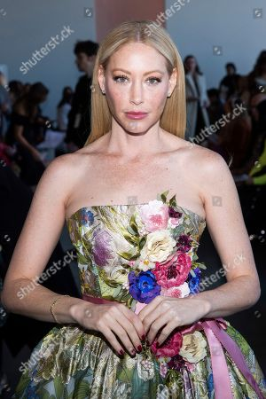 Stock Image of Julie Mintz attends the Badgley Mischka fashion show at Spring Studios during NYFW Fall/Winter 2020 on in New York