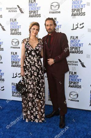 Laure de Clermont-Tonnerre, Matthias Schoenaerts. Laure de Clermont-Tonnerre, left, and Matthias Schoenaerts arrive at the 35th Film Independent Spirit Awards, in Santa Monica, Calif
