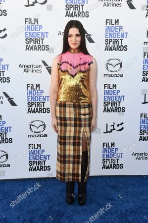 Hari Nef arrives at the 35th Film Independent Spirit Awards, in Santa Monica, Calif
