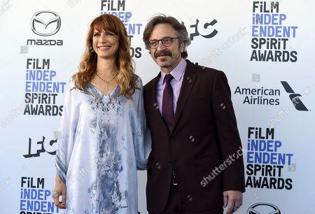 Lynn Shelton, Marc Maron. Lynn Shelton, left, and Marc Maron arrive at the 35th Film Independent Spirit Awards, in Santa Monica, Calif