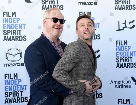 Jim Gaffigan, Chris Hardwick. Jim Gaffigan, left, and Chris Hardwick arrive at the 35th Film Independent Spirit Awards, in Santa Monica, Calif
