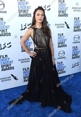 Keana Marie arrives at the 35th Film Independent Spirit Awards, in Santa Monica, Calif
