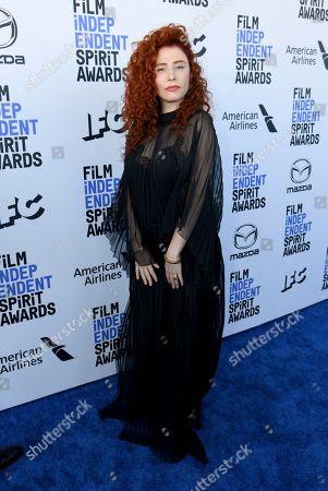 Alma Har'el arrives at the 35th Film Independent Spirit Awards, in Santa Monica, Calif