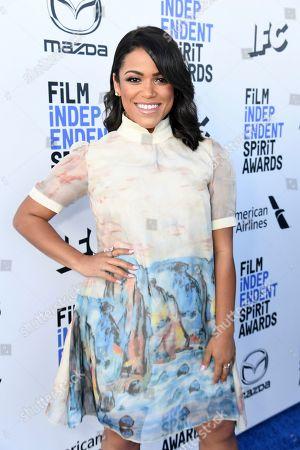 Vivian Lamolli arrives at the 35th Film Independent Spirit Awards, in Santa Monica, Calif