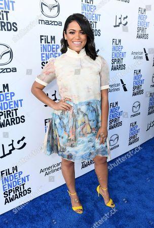 Stock Photo of Vivian Lamolli arrives at the 35th Film Independent Spirit Awards, in Santa Monica, Calif