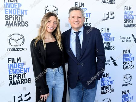 Sarah Sarandos, Ted Sarandos. Sarah Sarandos, left, and Ted Sarandos arrive at the 35th Film Independent Spirit Awards, in Santa Monica, Calif
