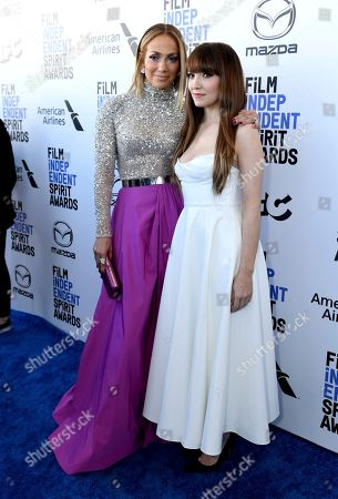 Jennifer Lopez, Lorene Scafaria. Jennifer Lopez, left, and Lorene Scafaria arrive at the 35th Film Independent Spirit Awards, in Santa Monica, Calif
