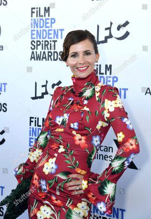 Paula Roman arrives at the 35th Film Independent Spirit Awards, in Santa Monica, Calif