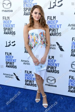 Hunter King arrives at the 35th Film Independent Spirit Awards, in Santa Monica, Calif