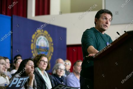 US actor Michael J. Fox speaks while former Mayor of South Bend Indiana Pete Buttigieg (not pictured) campaigns at Kenne State College in Keene, New Hampshire, USA, 08 February 2020. The first in the Nation Primary is to be held in New Hampshire on 11 February 2020.