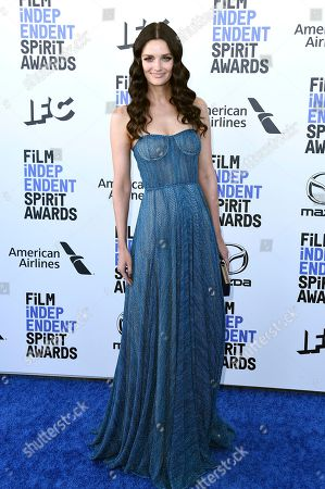 Lydia Hearst arrives at the 35th Film Independent Spirit Awards, in Santa Monica, Calif