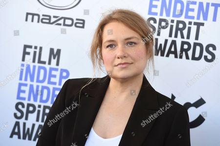 Merritt Wever arrives at the 35th Film Independent Spirit Awards, in Santa Monica, Calif