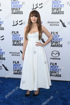 Lorene Scafaria arrives at the 35th Film Independent Spirit Awards, in Santa Monica, Calif