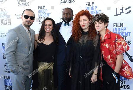 Shia LaBeouf, Natasha Braier, Byron Bowers, Alma Har'el, Noah Jupe. Shia LaBeouf, from left, Natasha Braier, Byron Bowers, Alma Har'el, and Noah Jupe arrive at the 35th Film Independent Spirit Awards, in Santa Monica, Calif