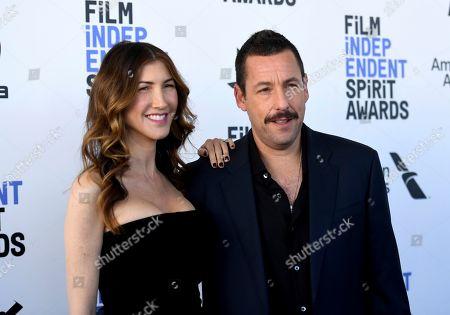Jackie Sandler, Adam Sandler. Jackie Sandler, left, and Adam Sandler arrive at the 35th Film Independent Spirit Awards, in Santa Monica, Calif