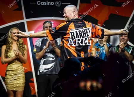 Dutch professional darts player Raymond van Barneveld reacts during a farewell party for the multiple darts champion in Amsterdam, The Netherlands, 08 February 2020.