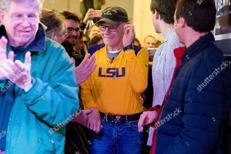 James Carville, a political commentator known for leading former President Bill Clinton's 1992 presidential campaign, arrives to introduce Democratic presidential candidate Sen. Michael Bennet, D-Colo., at a campaign stop at the Spotlight Room at the Palace, in Manchester, N.H