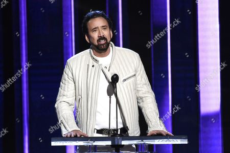 Stock Picture of Nicolas Cage presents the Robert Altman award at the 35th Film Independent Spirit Awards, in Santa Monica, Calif