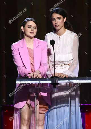 Joey King, Margaret Qualley. Joey King, left, and Margaret Qualley present the John Cassavetes award at the 35th Film Independent Spirit Awards, in Santa Monica, Calif