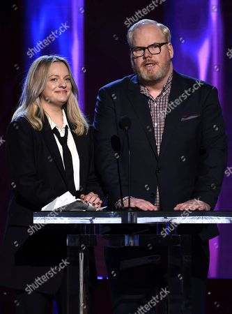 Elisabeth Moss, Jim Gaffigan. Elisabeth Moss, left, and Jim Gaffigan present the award for best first feature at the 35th Film Independent Spirit Awards, in Santa Monica, Calif