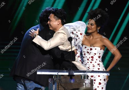 "Zazie Beetz, Jon M. Chu, Bong Joon-Ho. Zazie Beetz, center, and Jon M. Chu, right, present the award for best international film to Bong Joon-Ho for ""Parasite"" at the 35th Film Independent Spirit Awards, in Santa Monica, Calif"