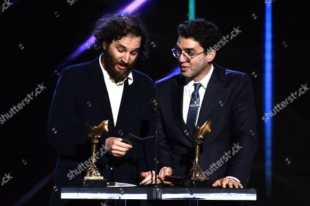 "Josh Safdie, Ben Safdie. Josh Safdie, left, and Ben Safdie accept the award for best director for ""Uncut Gems"" at the 35th Film Independent Spirit Awards, in Santa Monica, Calif"