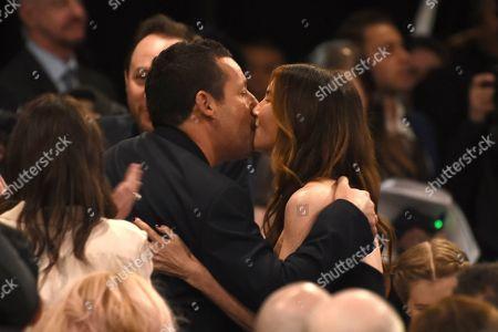 Adam Sandler, Jackie Sandler. Adam Sandler, left, embraces Jackie Sandler after winning the award for best male lead at the 35th Film Independent Spirit Awards, in Santa Monica, Calif