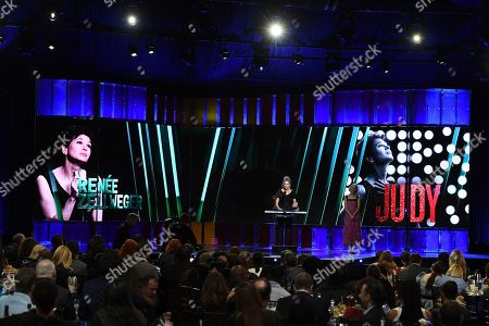 """Renee Zellweger, Naomi Watts. Renee Zellweger accepts the award for best female lead for """"Judy"""" at the 35th Film Independent Spirit Awards, in Santa Monica, Calif. Naomi Watts, right, looks on"""