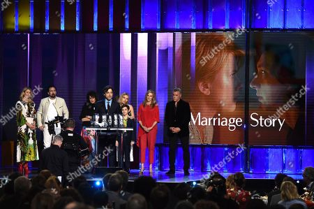 "Stock Photo of Laura Dern, Nicolas Cage, Francine Maisler, Noah Baumbach, Scarlett Johannson, Azhy Robertson, Julie Hagerty, Ray Liotta. Noah Baumbach accepts the Robert Altman award for ""Marriage Story"" at the 35th Film Independent Spirit Awards, in Santa Monica, Calif"