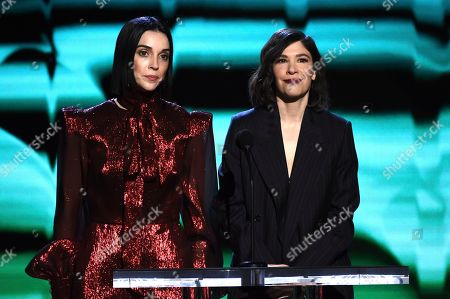 St. Vincent, Carrie Brownstein. St. Vincent, left, and Carrie Brownstein present the award for best cinematography at the 35th Film Independent Spirit Awards, in Santa Monica, Calif