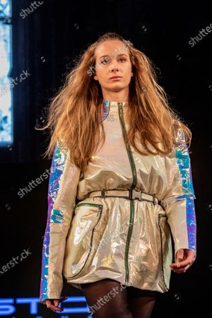 A model wears clothes from the Autumn-Winter collection of the designer Custo Barcelona on the catwalk of the Angel Orensanz Foundation in New York, US, 08 February 2020. The Spanish firm Custo Barcelona celebrated on 08 February 40 years of experience in the fashion sector with a spectacular parade in a historic synagogue in New York.