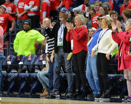 Morgan Freeman cheers on the sidelines during the NCAA basketball game between the Florida Gators and the Ole' Miss Rebels at The Pavillion in Oxford, MS. Kevin Langley/Sports South Media/CSM