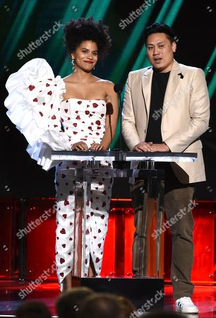 Zazie Beetz, Jon M. Chu. Zazie Beetz, left, and Jon M. Chu present the award for best international film at the 35th Film Independent Spirit Awards, in Santa Monica, Calif