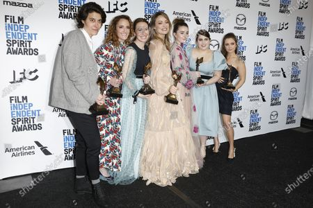 Chelsea Barnard, Jessica Elbaum, Katie Silberman, Olivia Wilde, Kaitlyn Dever, Beanie Feldstein and Billie Lourd pose in the press room with the Best First Feature award for the film 'Booksmart' at the 2020 Film Independent Spirit Awards in Santa Monica, California, USA, 08 February 2020. The award ceremony, organized by the non-profit organization Film Independent, honors the finest independent films of the preceding year.