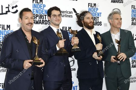 Adam Sandler, winner of Best Male Lead, Joshua Safdie and Ben Safdie, winners of Best Director and Ronald Bronstein, winner of Best Editing for 'Uncut Gems,' pose in the press room at the 2020 Film Independent Spirit Awards in Santa Monica, California, USA, 08 February 2020. The award ceremony, organized by the non-profit organization Film Independent, honors the finest independent films of the preceding year.