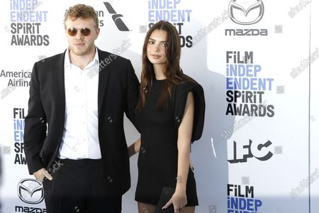 Sebastian Bear-McClard and wife US model Emily Ratajkowski arrive for the 2020 Film Independent Spirit Awards in Santa Monica, California, USA, 08 February 2020. The award ceremony, organized by the non-profit organization Film Independent, honors the finest independent films of the preceding year.