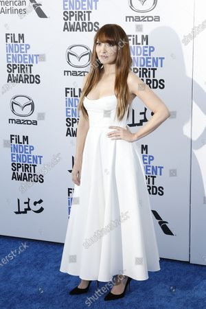 US actress/filmaker Lorene Scafaria arrives for the 2020 Film Independent Spirit Awards in Santa Monica, California, USA, 08 February 2020. The award ceremony, organized by the non-profit organization Film Independent, honors the finest independent films of the preceding year.