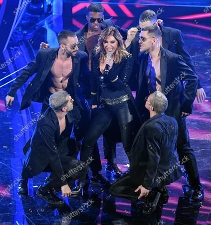 Sabrina Salerno (C) performs on stage at the Ariston theatre during the 70th Sanremo Italian Song Festival, in Sanremo, Italy, 08 February 2020. The festival runs from 04 to 08 February.