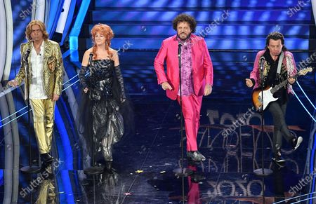 Massimo Ghini, Angela Finocchiaro, Christian De Sica and Paolo Rossi perform on stage at the Ariston theatre during the 70th Sanremo Italian Song Festival, in Sanremo, Italy, 08 February 2020. The festival runs from 04 to 08 February.