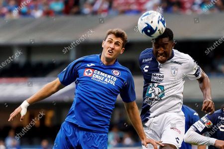 Santiago Gimenez (L) of Cruz Azul in action against Oscar Murillo (R) of Pachuca during the Clausura Tournament (Liga MX) soccer match between Cruz Azul and Pachuca, at the Azteca Stadium, in Mexico City, Mexico, 08 February 2020.