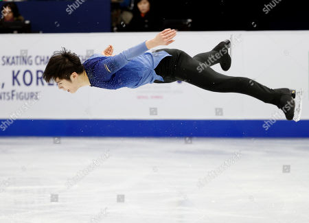 China's Zhang He performs during the men's single free skating competition in the ISU Four Continents Figure Skating Championships in Seoul, South Korea