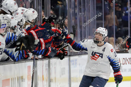 United States' Hilary Knight celebrates after scoring against Canada during the first period of a Rivalry Series hockey game in Anaheim, Calif