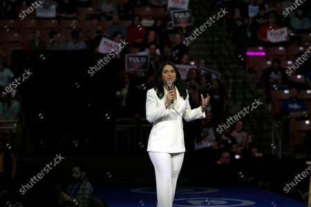 Stock Photo of US Democratic Party presidential candidate Representative Tulsi Gabbard speaks at the McIntyre-Shaheen 100 Club Event in Manchester, New Hampshire, USA, 08 February 2020. The first of the National Primaries is to be held in New Hampshire on 11 February 2020.
